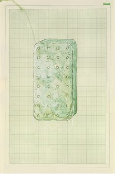 rachel whiteread | watercolor and correction fluid on graph paper