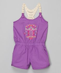 Look at this Purple Crochet-Back Romper - Infant, Toddler & Girls on #zulily today!