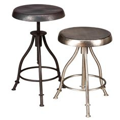 Incorporate a modern style into your kitchen with this stylish iron swivel stool. This sturdy stool is crafted from solid iron, ensuring longevity. Available in nickel and burnt wax color options, this stool is sure to complement any home decor. Counter Stools, Bar Stools, Island Stools, Kitchen Stools, Barn Kitchen, Kitchen Countertops, Kitchen Island, Stool Height, Table Height