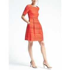 Banana Republic Womens Laser Cut Fit & Flare Dress ($138) ❤ liked on Polyvore featuring dresses, geo red, white fit-and-flare dresses, flare dress, flared dresses, white fit and flare dress and fit flare dress