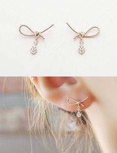 [☆14K Gold☆ 리본하트 이어링 ] Gold Earrings Designs, Diy Earrings, Necklace Designs, Beaded Jewelry, Handmade Jewelry, Jewelry Accessories, Jewelry Design, Fantasy Jewelry, Simple Jewelry