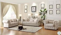 Shop Home Elegance Savonburg Neutral Living Room Set with great price, The Classy Home Furniture has the best selection of Living Room Sets to choose from 3 Piece Living Room Set, Living Room Sets, Living Room Furniture, Living Room Designs, Living Room Decor, Garden Furniture, Sofa And Loveseat Set, Beautiful Living Rooms, Love Seat