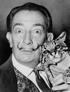 Dali with ocelot friend at St Regis / World Telegram & Sun photographed by Roger Higgins in 1965.