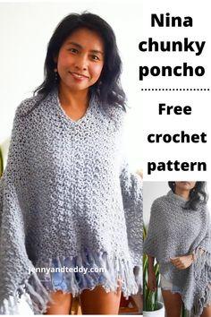 Crochet Cape, Crochet Cardigan Pattern, Crochet Shirt, Chunky Crochet, Easy Crochet, Simple Crochet Patterns, Poncho Knitting Patterns, Crochet Gratis, Crochet For Beginners