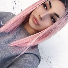 Ombre Pink Bob Short Straight Lace Frontal Wigs Brazilian Remy Hair For Women Best Lace Front Wigs, Cheap Lace Front Wigs, Synthetic Lace Front Wigs, Front Lace, Long Hair Wigs, Remy Hair Wigs, Human Hair Wigs, Light Pink Hair, Lilac Hair