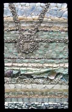 """12"""" x 20""""  Pottery, Beads, Pearls, Pyrite, Pearls, Paua Shells, Glass Tile, Pebbles, Stained Glass"""