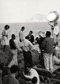Lea Massari, Gabriele Ferzetti and Michelangelo Antonioni while filming L'avventura