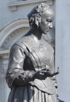 Florence Nightingale (1820 — 1910) ~ Wonderful, concise historical information about the woman who laid the foundation for nursing as a reputable profession for females / The Victorian Web  / Florence Nightingale by Arthur George Walker, a bronze statue. which is part of the Crimean War Memorial, in London, England