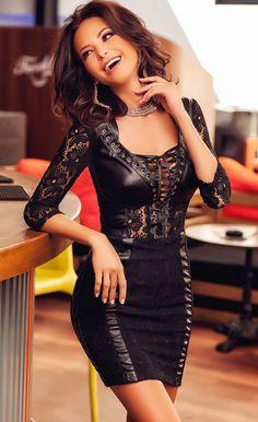 $41.99 Black Lace Leather Splice Lace-up V Neck Party Dress
