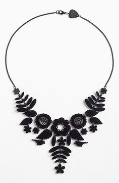 Mexican Embroidery Necklace by Tatty Devine. Traditional Mexican embroidery design in glossy, laser-cut acrylic. Jewelry Art, Jewelry Accessories, Fine Jewelry, Jewelry Necklaces, Jewelry Design, Fashion Jewelry, Jewelry Making, Diamond Necklaces, Jewellery Sale