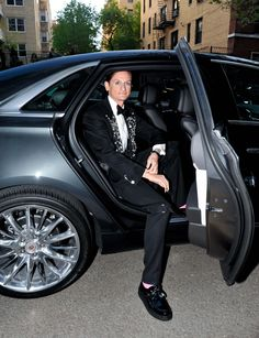 Vogue Editor-at-large Hamish Bowles departs for the Costume Institute Benefit at The Metropolitan Museum of Art in a Cadillac XTS. #StyleDriven