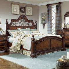 Legacy Classic Furniture Royal Traditions Low Poster Headboard with Metal Accent in Distressed Chestnut