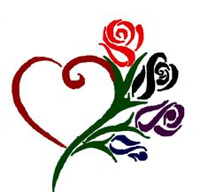 heart and rose tattoo - maybe birthstone colors for the flowers for each of my kiddos :)