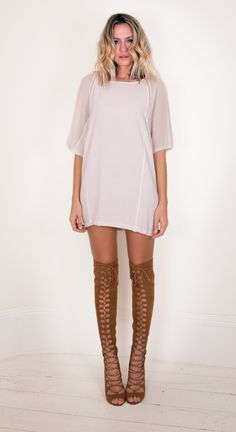 The Betty Blue Tunic, £140, on LUX FIX https://lux-fix.com/shop/betty-blue-fawn-tunic-by-feather-bone