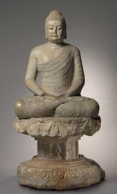 坐在無量壽佛和房玄齡立柱|克利夫蘭藝術博物館