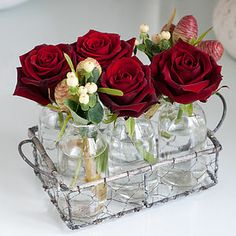 Red Rose Flower Bottles - fresh & alternative flowers