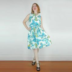 60s Blue Butterfly Print Belted A-line Dress with Tags M