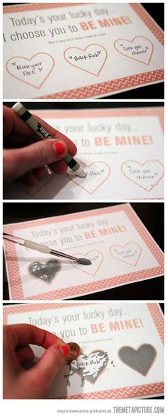 DIY Scratch-Off Valentine Card…  http://srsfunny.tumblr.com/