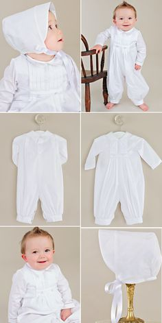 Comfy cotton, snappy collar, and pleated details make this baptism romper for boys a perfect combo of comfort and handsome.