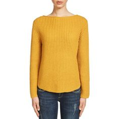 Oui Waffle Knit Jumper (370 PEN) ❤ liked on Polyvore featuring tops, sweaters, dark yellow, boatneck sweater, long sleeve jumper, boat neck sweaters, waffle knit sweater and chunky sweater