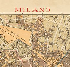 Old Map of Milan Milano City Plan Italia 1910 by OldCityPrints, $39.00