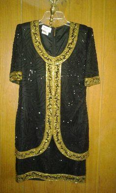 Brilliante 100% silk with beads. V. Pretty dress 4 woman. F 4 $35.00 $35.00