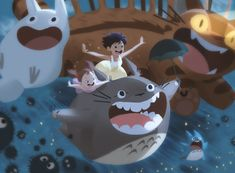 My Neighbour Totoro by Alex Cho Hayao Miyazaki, Cute Illustration, Character Illustration, Digimon, Character Art, Character Design, Card Captor, Studio Ghibli Movies, Different Art Styles