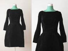 Vintage 60s Party Dress / 1960s Black Velvet Full Skirt Party Dress