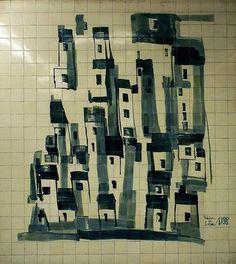 Tile panel LE MÉTRO (1988), Vieira da Silva / Manuel Cargaleiro. Cidade Universitária subway station, Lisbon, Portugal. http://www.metrolisboa.pt/eng/more-metro/art-in-metro | Photography: A Matemática Anda por Aí. http://amatematicaandaporai.blogspot.pt/2009/06/vieira-da-silva.html