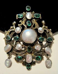 AUSTRO-HUNGARIAN Jeweled Blister Pearl FANCY FIGUREHEAD Scroll-Work SILVER PIN #SignedPP