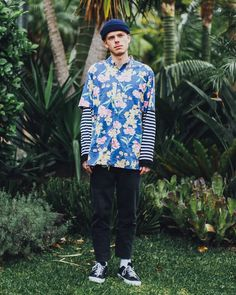 Master of party shirts Elvis Wesley bringing the tropicools vibe in the Romeo Blue Tourist Shirt and Black Chodus Jeans Last few remaining sizes available online at @peppermayo_mens!