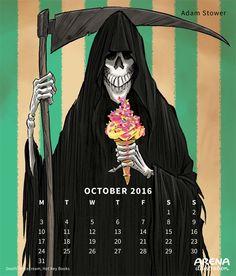 Arena Calendar October - Death or Ice Cream illustration by Adam Stower Ice Cream Illustration, F 1, Illustrators, Calendar, October, Death, Anime, Image, Illustrator