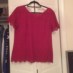 Loft lace top Rich red lace scalloped top. Tie back. Worn a handful of times, still in excellent condition. Size medium. LOFT Tops