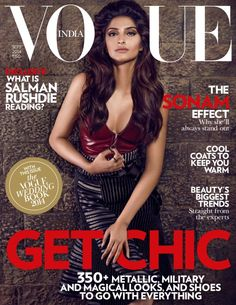 All hail the Queen of Bollywood Style!Sonam Kapoor covers the April 2015 issue of Vogue India, and she looks stunning, as usual. For the cover shot, the Bollywood film star dons an elegant lilac satin. V Magazine, Vogue Magazine Covers, Fashion Magazine Cover, Vogue Covers, Vogue India, Bollywood Celebrities, Bollywood Actress, Bollywood Style, Bollywood News
