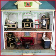 "German Two Story Wooden Dollhouse with Hand Painted Interior & Furnishings Early 1900s Small 1"" Scale"