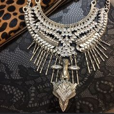 Silver chunky statement necklace with crystals High quality gypsy, boho chic, vintage inspired silver statement necklace with crystals.  Amazing necklace with a tribal look. No trades. Jewelry Necklaces