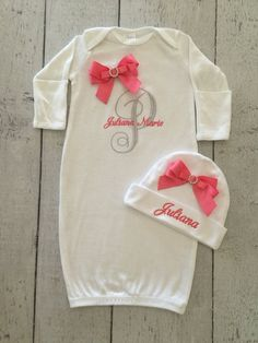 Our newborn gowns are a great baby shower gift, or take me home outfit! Will be embroidered with your babies name in any colors you would like. The ribbon will be made to match. Matching Newborn cap will be included and embroidered with one name. Please leave your embroidery options in the note to seller section of the checkout cart! Feel free to contact me with any questions.