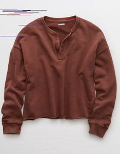 Aerie Henley Pullover Sweatshirt Dark Rust Aerie H Outfits Otoño, Casual Skirt Outfits, Fall Outfits, American Eagle Outfitters, Mens Outfitters, Ladies Dress Design, Cute Shirts, Sweatshirts, Men's Hoodies