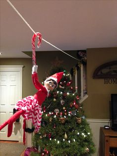 Zip lining with a candy cane