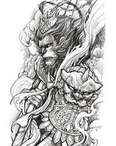 tattoos in japanese prints Japanese Tattoo Designs, Japanese Tattoo Art, Japanese Sleeve Tattoos, King Tattoos, Body Art Tattoos, Geisha Drawing, Sketch Drawing, Foo Dog Tattoo, Tattoo Arm