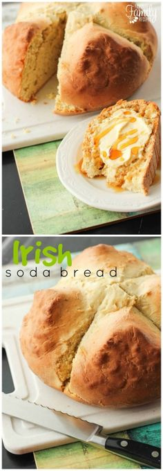 This authentic Irish Soda Bread is the perfect bread to accompany your St. Patricks Day meal - or any meal for that matter.  It is super easy to make.  There is no waiting for the bread to rise. via @favfamilyrecipz