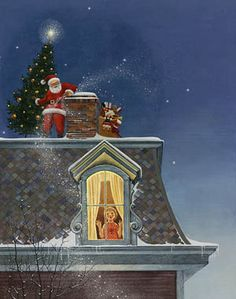 'Santa on the Roof' (by Charlotte Joan Sternberg) <> Think back to when you were a little child and thought you heard Santa and his reindeer on your roof...  Oh, the giddiness!