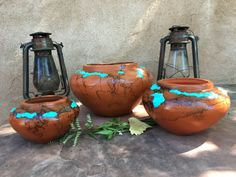 Set of Southwestern Bowls, Terra Cotta, Turquoise, horsehair fired $175