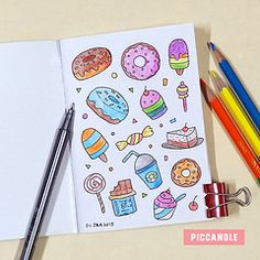Doodle - 01 January 2015 (Pic Candle) Tags: color cute art ice cake pencil notebook sketch drawing arts cream doodle cupcake donut doughnut kawaii doodles everyday staedtler doodleart doodleaday chumbak piccandle