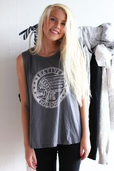 #Fashion #Clothing #Model #Beautiful #Gorgeous #Perfect #Long #Hair #Gray #Grey #Shirt #Tee #Big #Sleeveless #Leggings #LongHair #Blonde #Clothes #Outfit #Black #White #Native #Wildones #Skull #Logo
