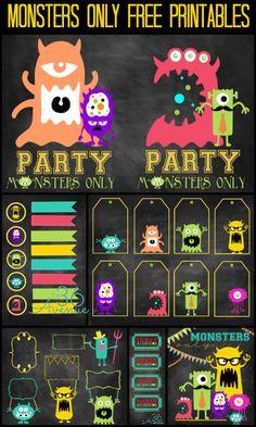 Monsters Party Free Printables - Imprimibles de monstruos de Halloween