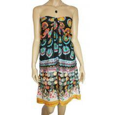 Strapless Cotton Beach / Mini Dress. Size 8-10