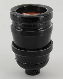 BLACK PORCELAIN ANTIQUE REPRODUCTION KEYLESS LAMP SOCKET WITH 1/8ips CAP. RATED MAXIMUM 660W 250V, UL LISTED E224663.