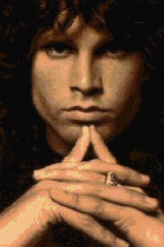 Jim Morrison Portrait Cross Stitch chart PDF - EASY chart with one color per…