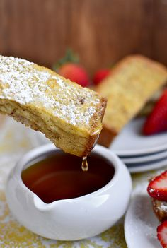 Baked French Toast Sticks   I'm always looking for something to make a big batch of to freeze for breakfasts. Taste great. Made 55 sticks from a $2.00 loaf of bread. Used whole wheat Italian bread-brownberrys